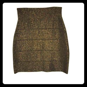BCBG Max Azria gold glittery skirt